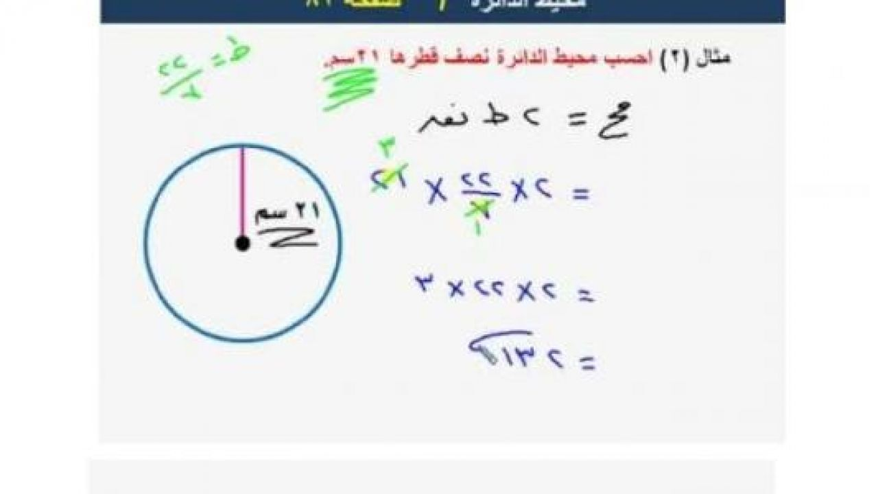 قانون مساحة ومحيط الدائرة تعريف الدائرة طب 21